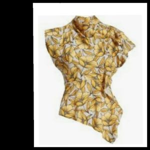 TopShop Yellow Floral Top Size 6